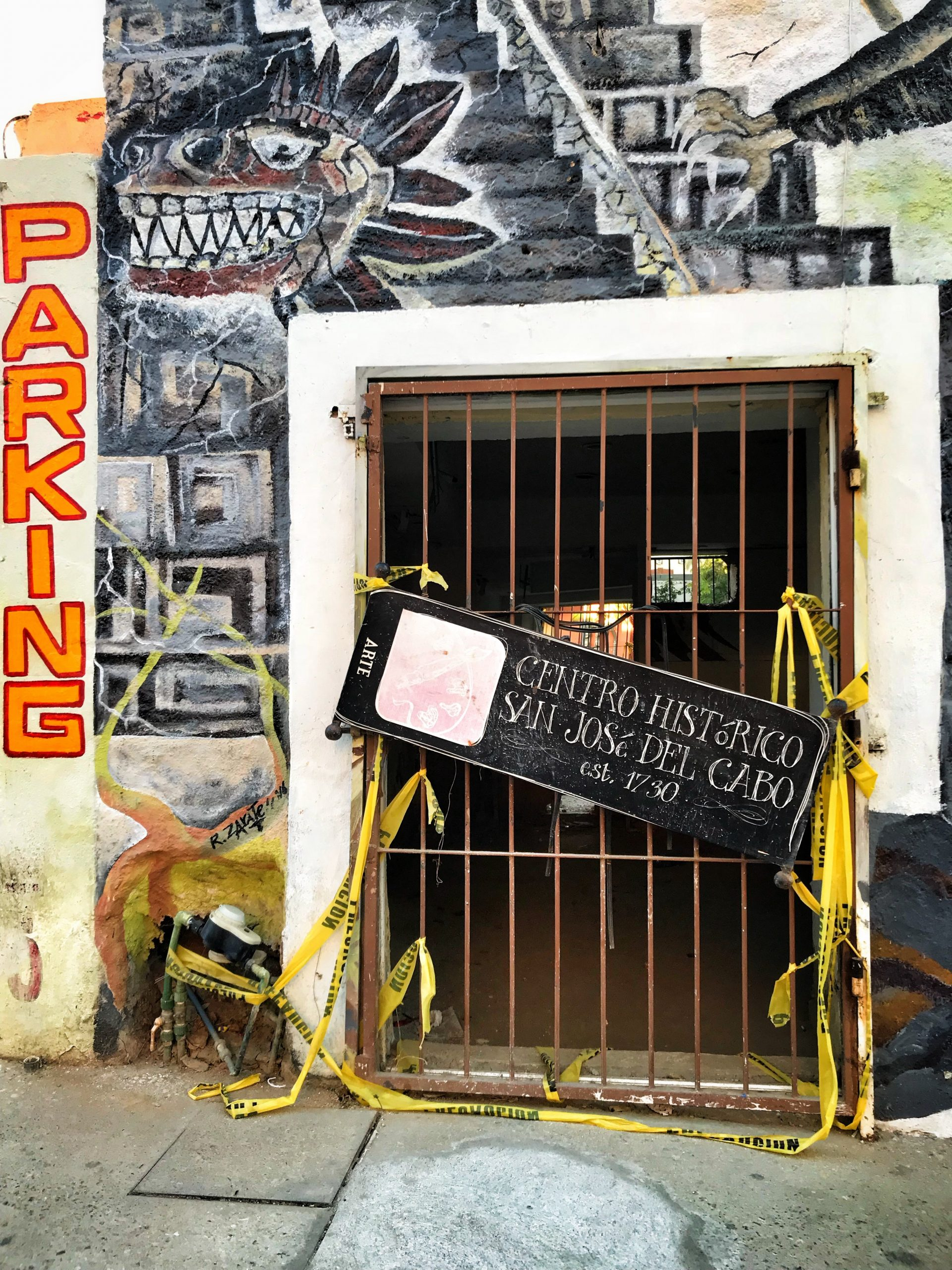 caution tape, baja, door, graffiti, stay out, warning